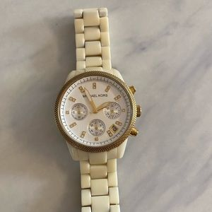Michael Kors women's watch, white & gold